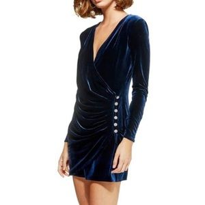 Topshop navy velvet long sleeve holiday mini dress